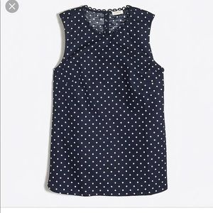 J Crew Navy Polka Dot Printed Corded Shell, 0